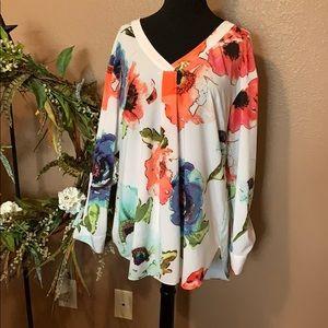 White flowered blouse